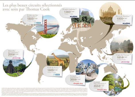 Planisphère des circuits de voyage Thomascook.fr